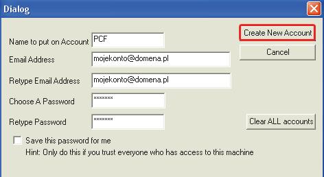 f45abb9e198b76 ... kliknij Create New Account. Od tej chwili, jeżeli chcesz stworzyć alias  ...