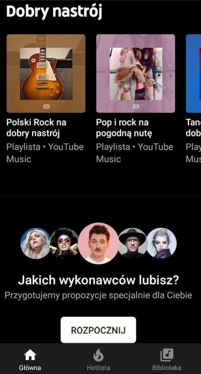 Interfejs YouTube Music
