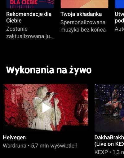 YouTube Music na żywo