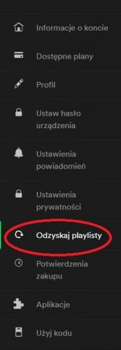 Menu Spotify