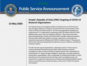 FBI podejrzewa Chiny o szpiegostwo w związku z Covid-19