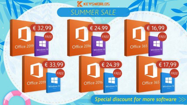 Oferta na lato: kup Office i otrzymaj Windows 10! Office 2016/2019 i Win 10 za 8,67 euro